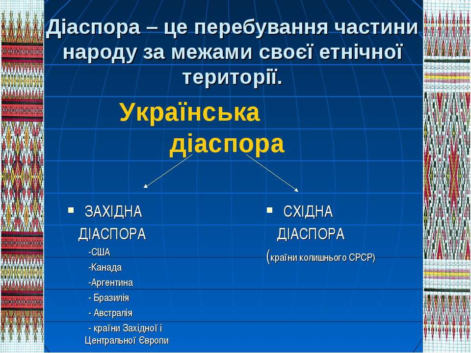 Діаспора – це перебування частини народу за межами своєї етнічної території. ...