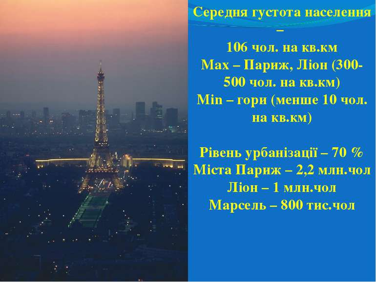 Середня густота населення – 106 чол. на кв.км Max – Париж, Ліон (300-500 чол....