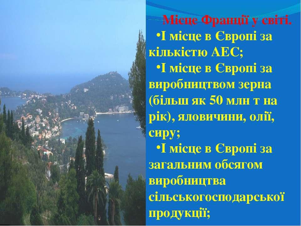 Місце Франції у світі. І місце в Європі за кількістю АЕС; І місце в Європі за...