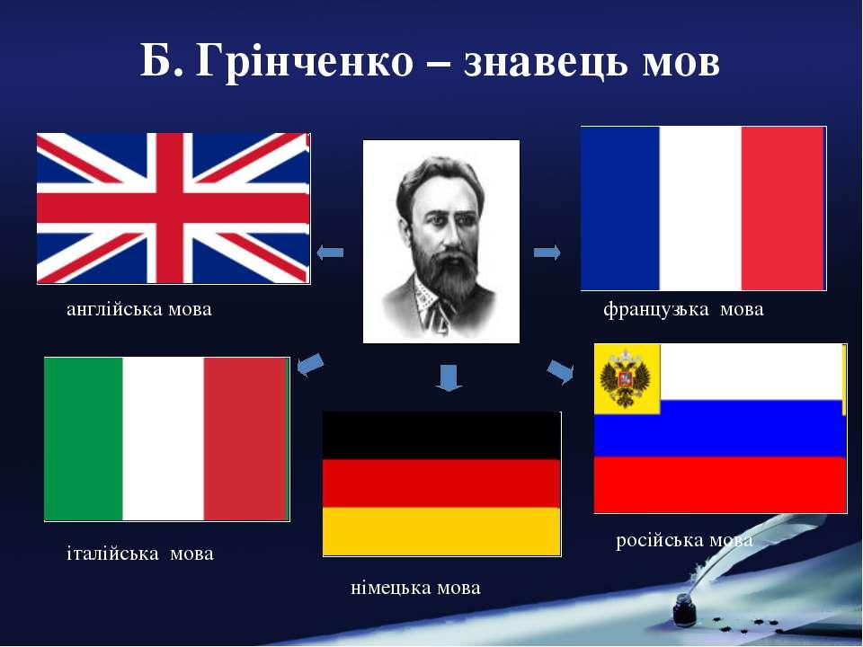 Б. Грінченко – знавець мов англійська мова італійська мова французька мова ро...