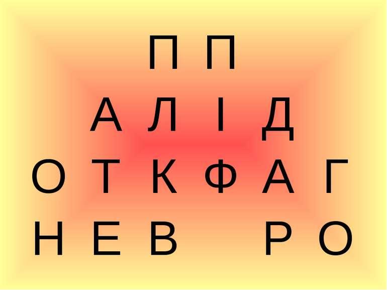 П П А Л І Д О Т К Ф А Г Н Е В Р О