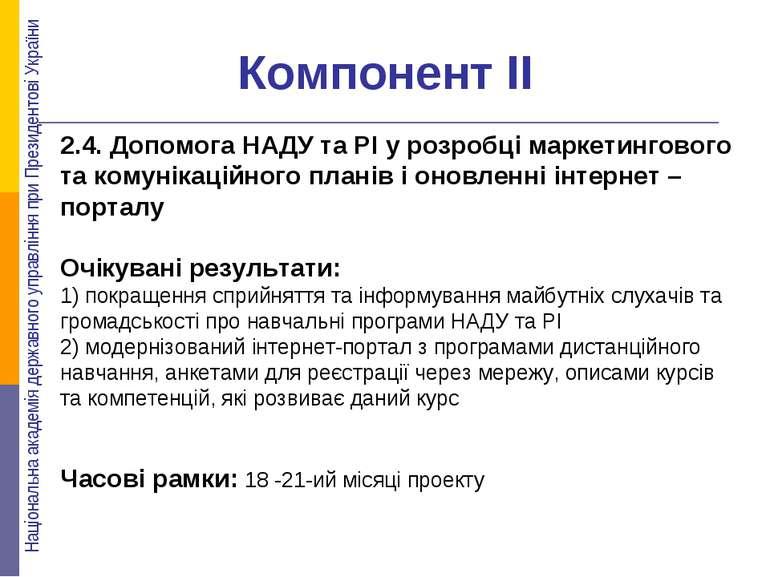 Компонент ІІ 2.4. Допомога НАДУ та РІ у розробці маркетингового та комунікаці...