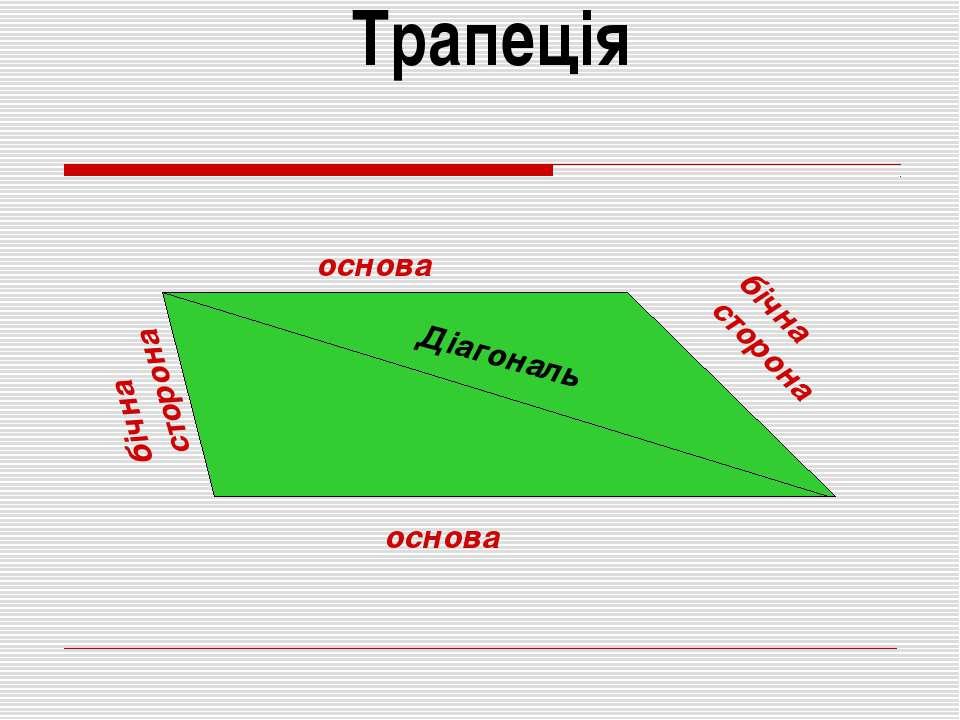Трапеція основа основа бічна сторона бічна сторона Діагональ