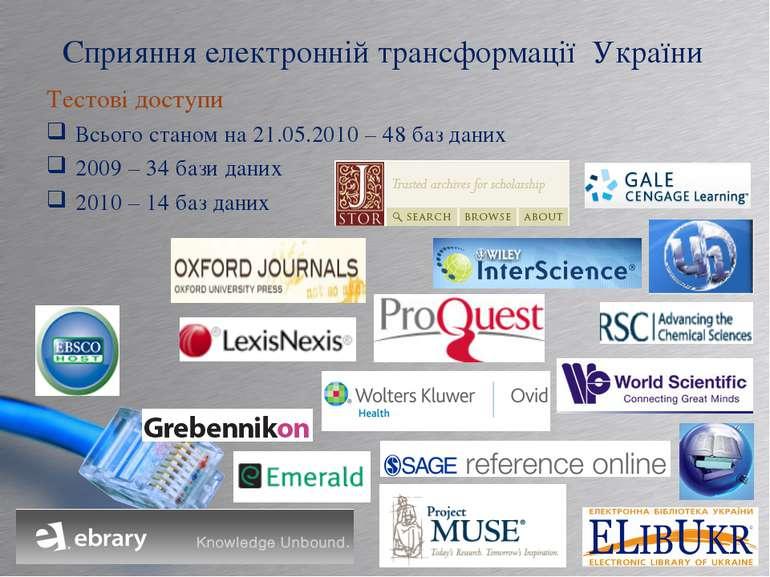 Сприяння електронній трансформації України Тестові доступи Всього станом на 2...