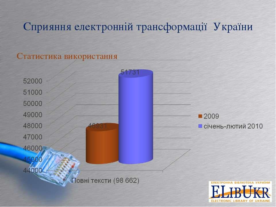 Сприяння електронній трансформації України Статистика використання