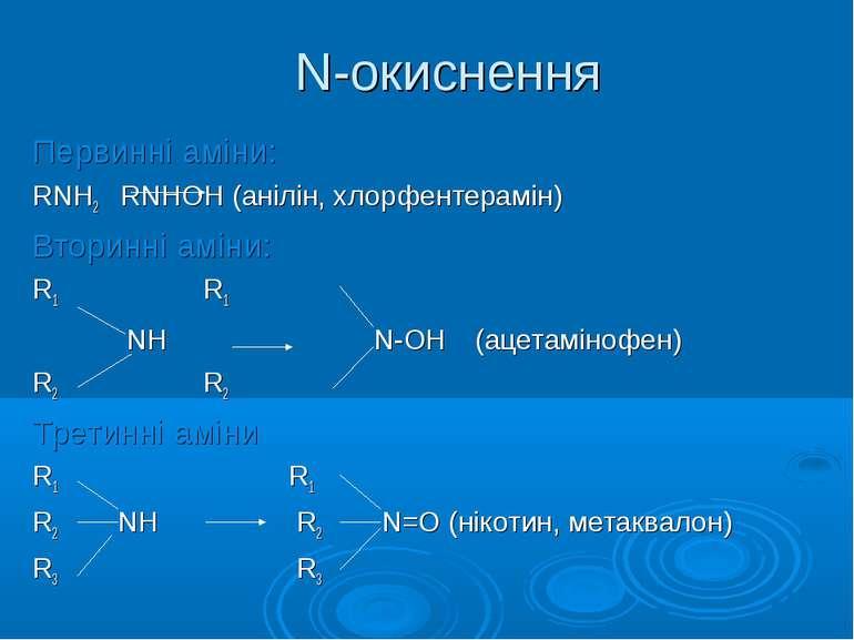 N-окиснення Первинні аміни: RNH2 RNHОН (анілін, хлорфентерамін) Вторинні амін...