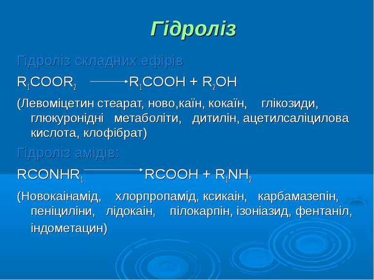 Гідроліз Гідроліз складних ефірів R1COOR2 R1COOH + R2OH (Левоміцетин стеарат,...