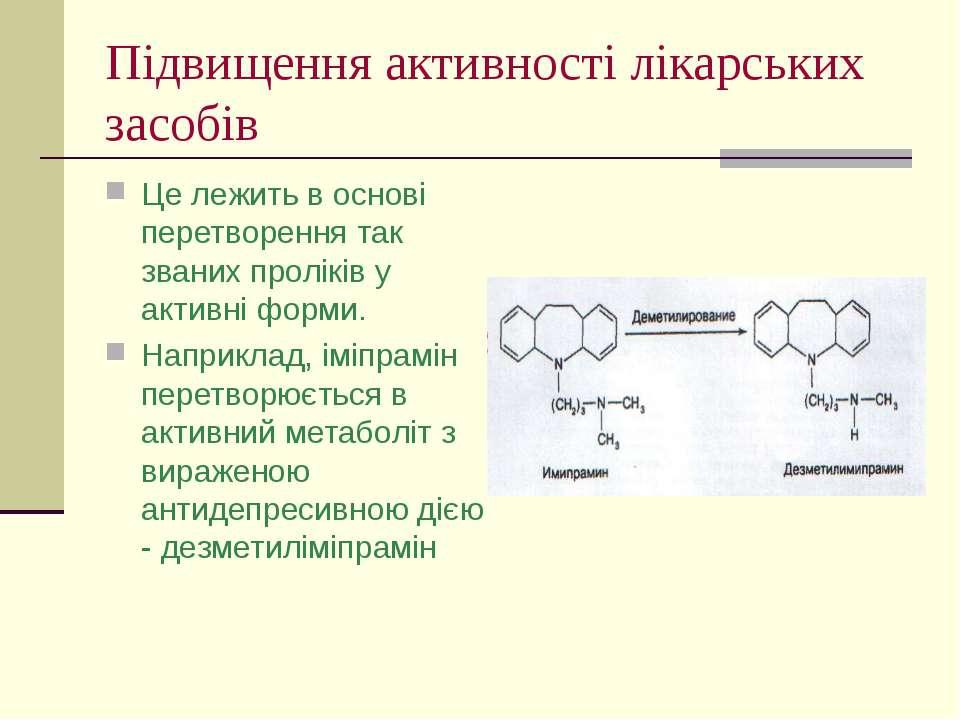 Підвищення активності лікарських засобів Це лежить в основі перетворення так ...