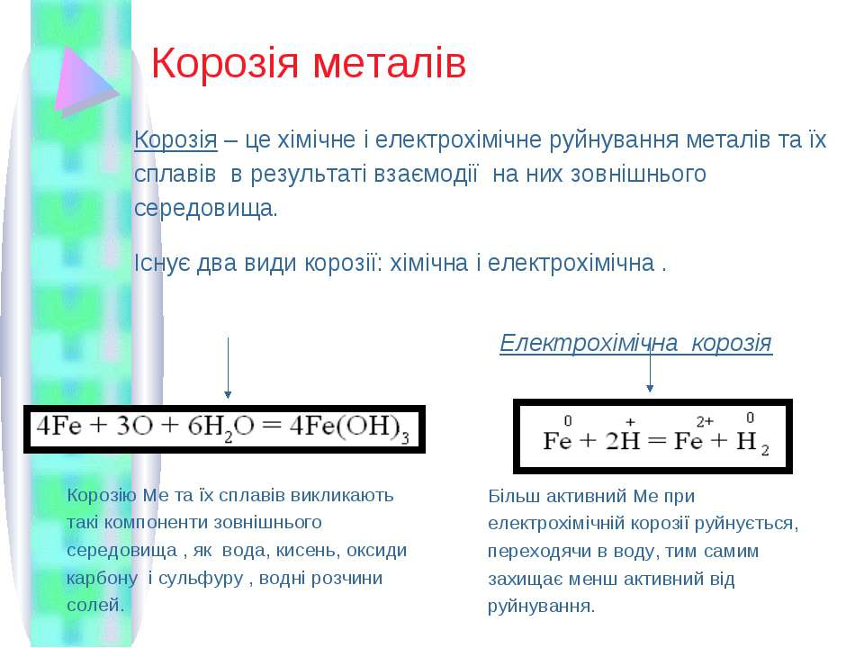 Корозія металів Корозія – це хімічне і електрохімічне руйнування металів та ї...