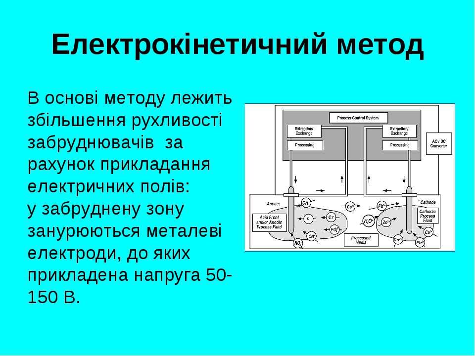 Електрокінетичний метод В основі методу лежить збільшення рухливості забрудню...