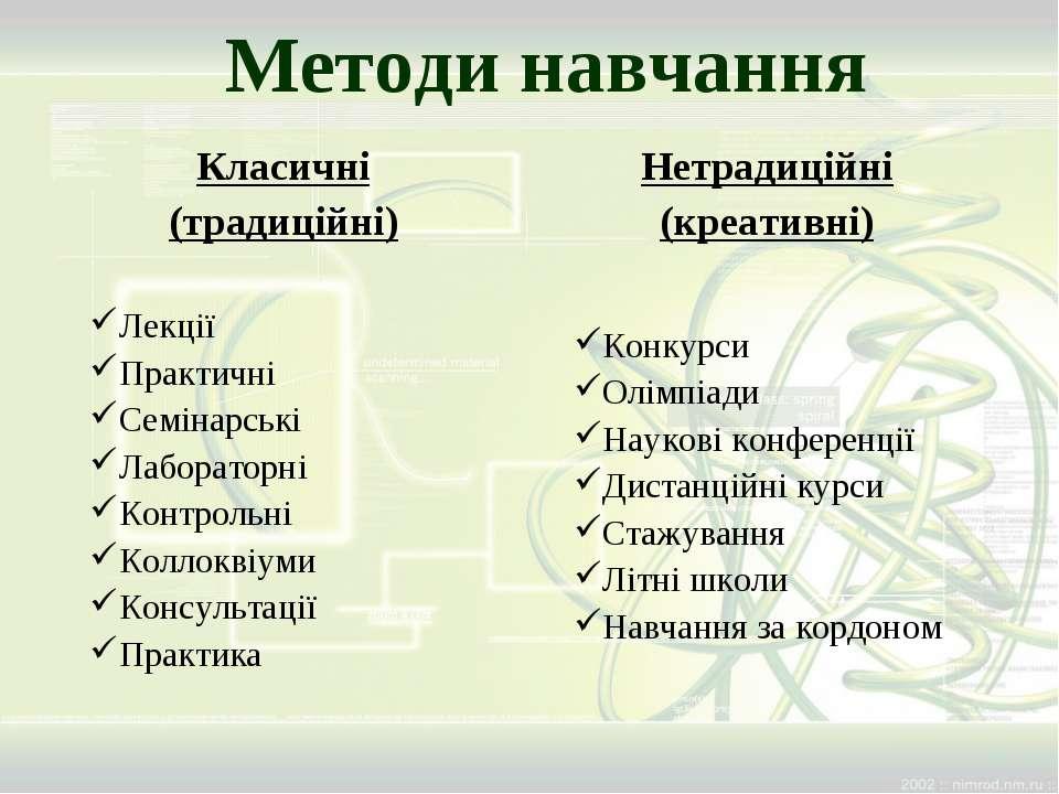 Методи навчання Класичні (традиційні) Лекції Практичні Семінарські Лабораторн...