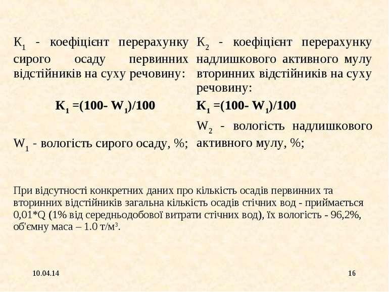 * * К1 - коефіцієнт перерахунку сирого осаду первинних відстійників на суху р...