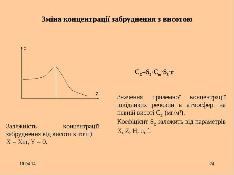 * * Зміна концентрації забруднення з висотою C Z Залежність концентрації забр...