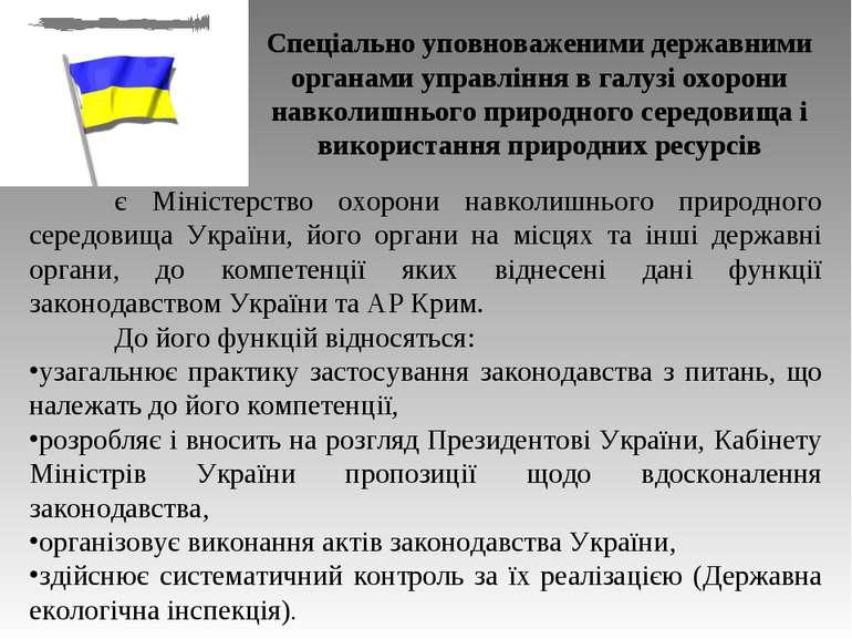 є Міністерство охорони навколишнього природного середовища України, його орга...