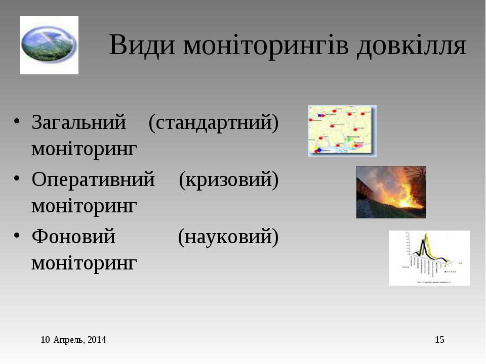 * * Види моніторингів довкілля Загальний (стандартний) моніторинг Оперативний...