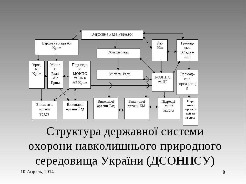 * * Структура державної системи охорони навколишнього природного середовища У...