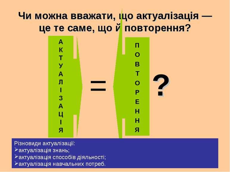 Чи можна вважати, що актуалізація — це те саме, що й повторення? = П О В Т О ...