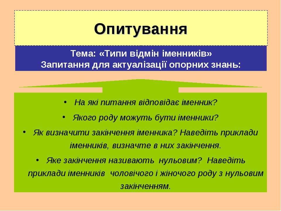 Опитування Тема: «Типи відмін іменників» Запитання для актуалізації опорних з...