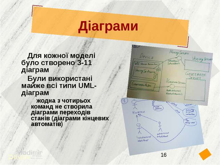 Діаграми Для кожної моделі було створено 3-11 діаграм Були використані майже ...