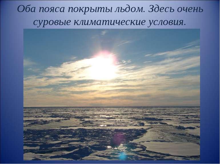 Оба пояса покрыты льдом. Здесь очень суровые климатические условия.