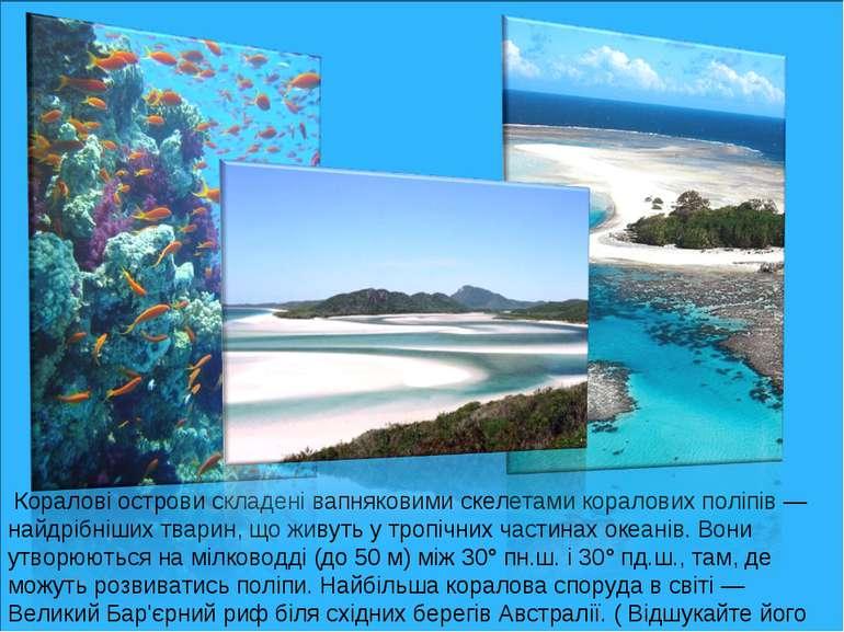 Коралові острови складені вапняковими скелетами коралових поліпів — найдрібні...