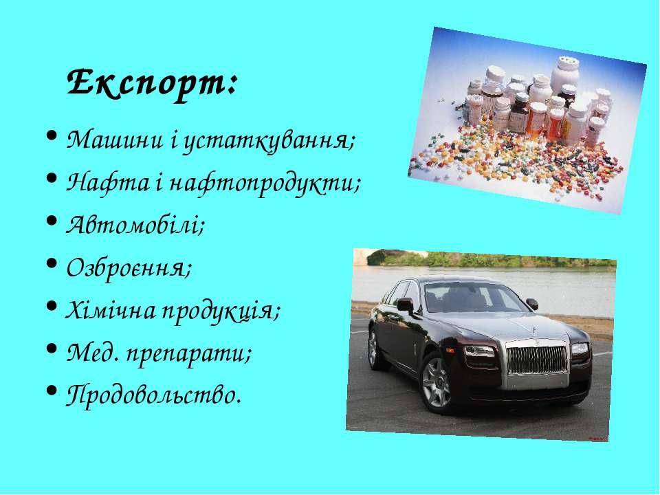 Експорт: Машини і устаткування; Нафта і нафтопродукти; Автомобілі; Озброєння;...