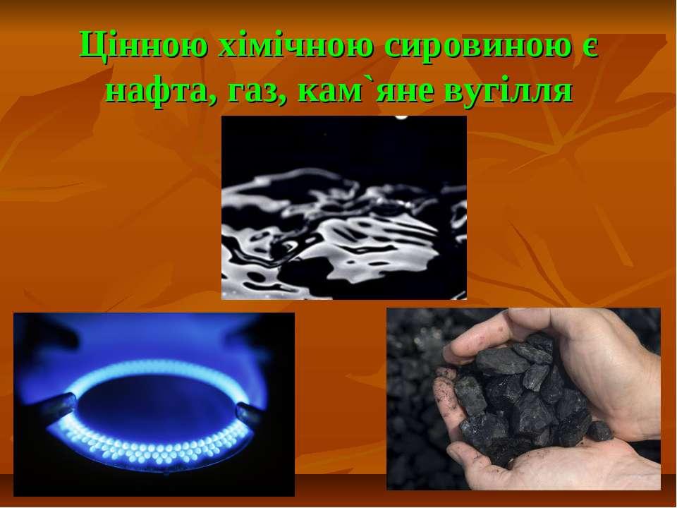 Цінною хімічною сировиною є нафта, газ, кам`яне вугілля