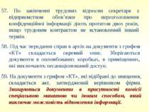 57. По закінченні трудових відносин секретаря з підприємством обов'язки про н...