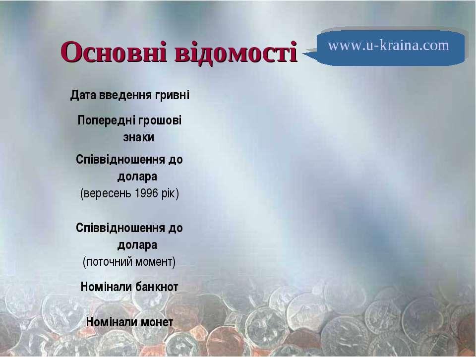 Основні відомості www.u-kraina.com
