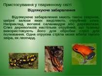 Відлякуюче забарвлення мають також тварини, шкірні залози яких виділяють отру...