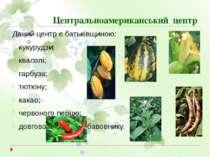 Центральноамериканський центр Даний центр є батьківщиною: кукурудзи; квасолі;...