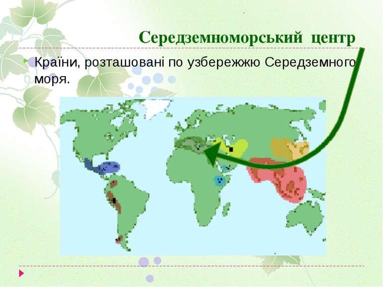 Середземноморський центр Країни, розташовані по узбережжю Середземного моря.