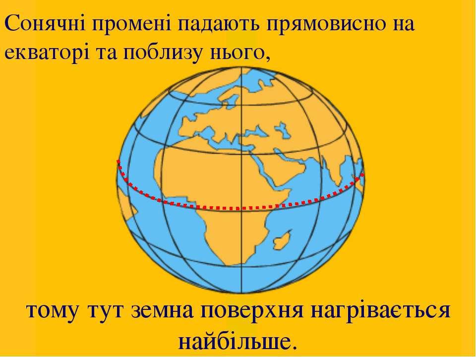 Картка 2.2. Вісь Землі екватор тому тут земна поверхня нагрівається найбільше...
