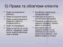 5) Права та обов'язки клієнтів Право на оскарження і апеляцію; Право на подан...