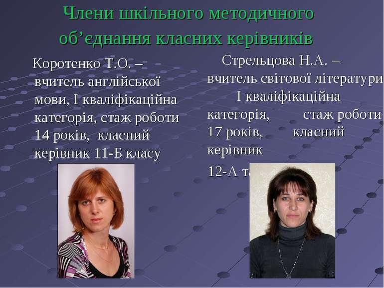 Члени шкільного методичного об'єднання класних керівників Коротенко Т.О. – вч...