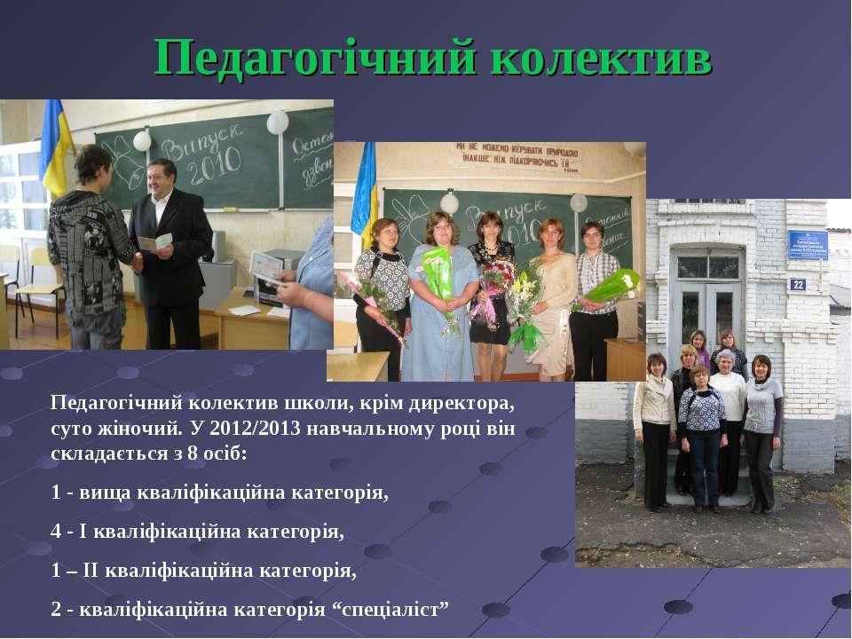 Педагогічний колектив Педагогічний колектив школи, крім директора, суто жіноч...