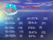 """Острів """"Приклади"""" 50-6*7= 12+15-5= 20-10/5= (41-37)*8= 12+15/5= (20-10)/5= 30..."""