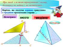 висота бісектриса молодець! Відрізок, що сполучає вершину трикутника з середи...