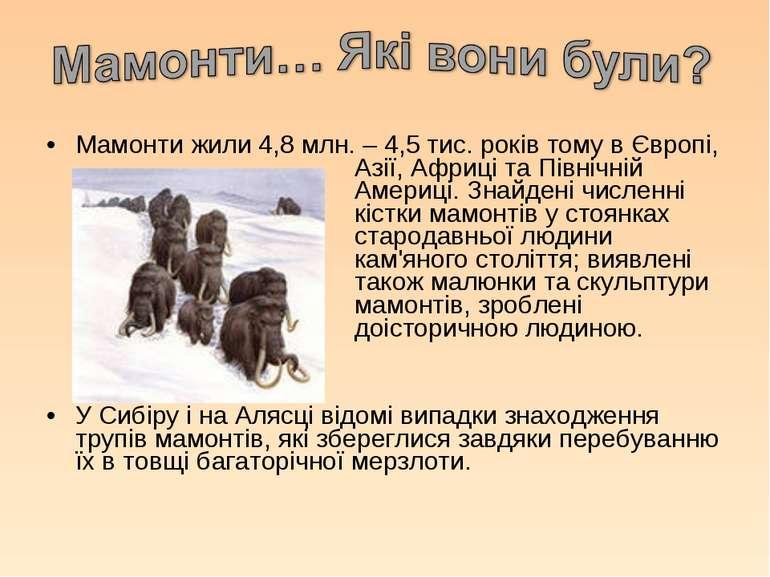 Мамонти жили 4,8 млн. – 4,5 тис. років тому в Європі, Азії, Африці та Північн...