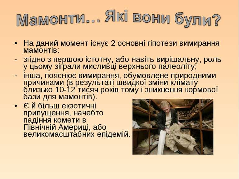 На даний момент існує 2 основні гіпотези вимирання мамонтів: згідно з першою ...
