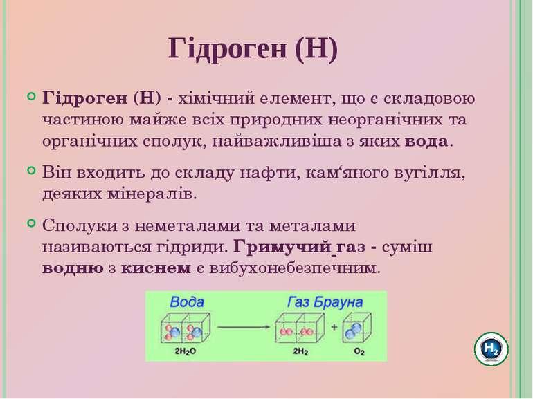 Гідроген(Н)-хімічний елемент, що є складовою частиною майже всіх природних...