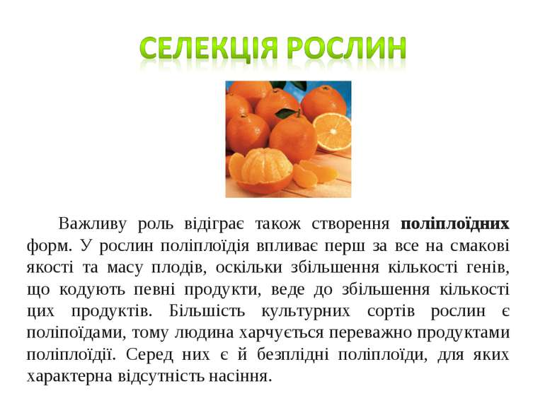 Важливу роль відіграє також створення поліплоїдних форм. У рослин поліплоїдія...