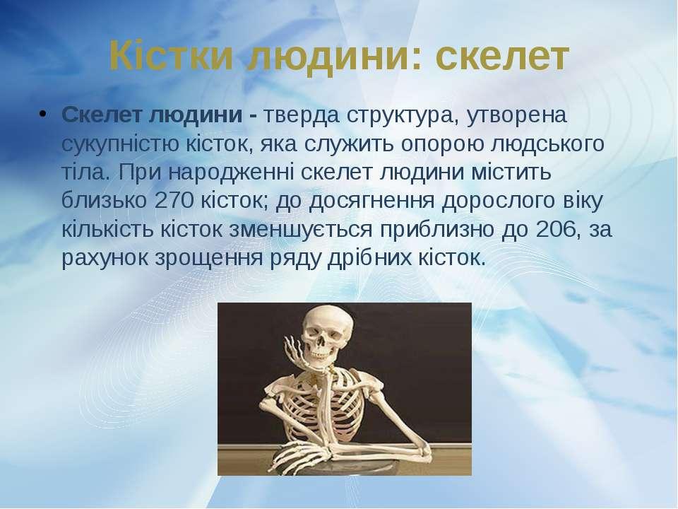 Кістки людини: скелет Скелет людини - тверда структура, утворена сукупністю к...