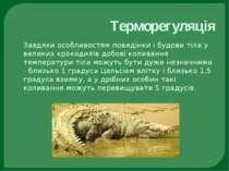 Терморегуляція Завдяки особливостям поведінки і будови тіла у великих крокоди...