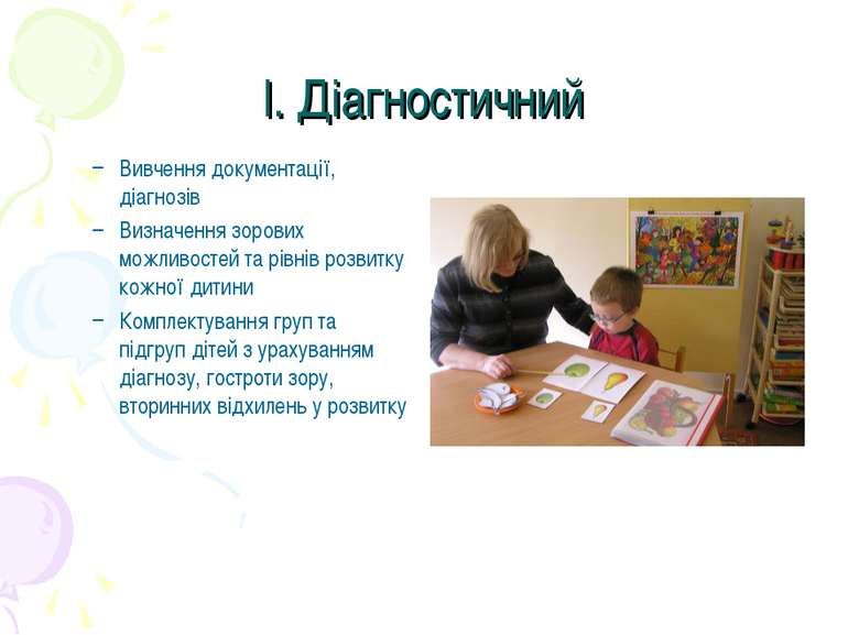 І. Діагностичний Вивчення документації, діагнозів Визначення зорових можливос...