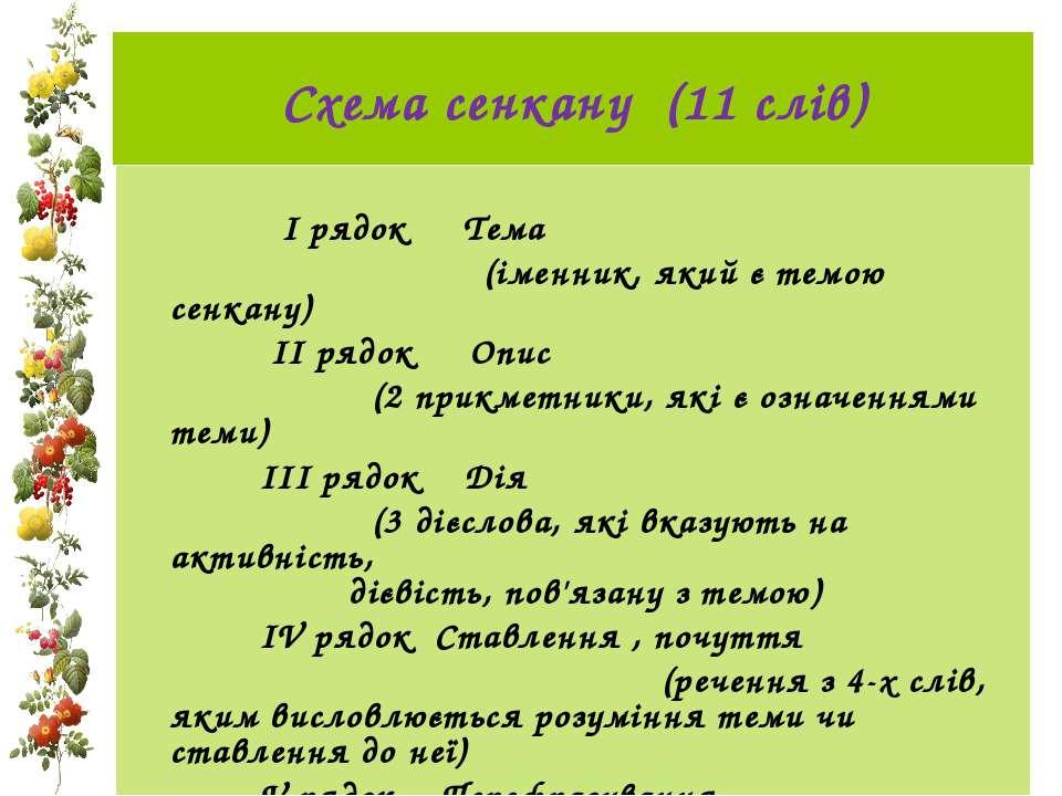 Схема сенкану (11 слів)  І рядок Тема (іменник, який є темою сенкану) ...
