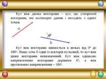 Кут між двома векторами – кут, що утворений векторами, які колінеарні даним і...