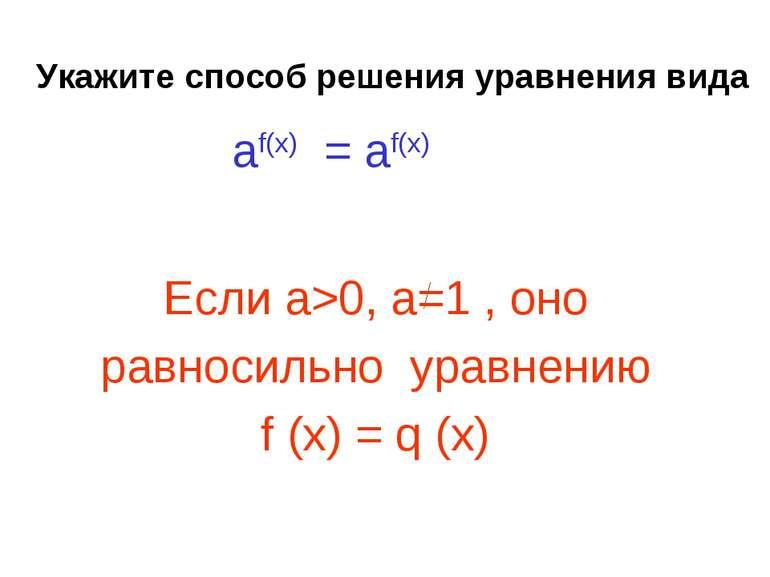 Укажите способ решения уравнения вида Если а>0, a=1 , оно равносильно уравнен...