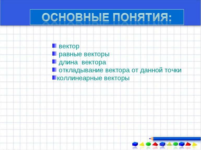 вектор равные векторы длина вектора откладывание вектора от данной точки колл...