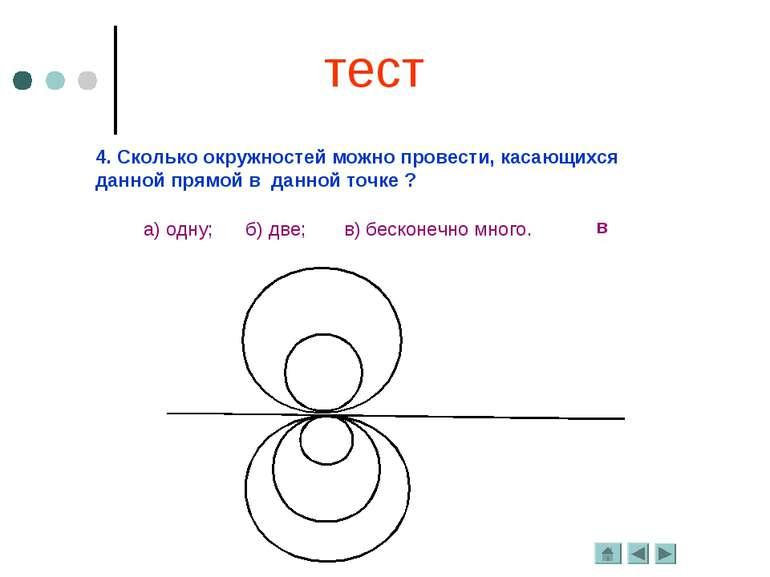 4. Сколько окружностей можно провести, касающихся данной прямой в данной точк...